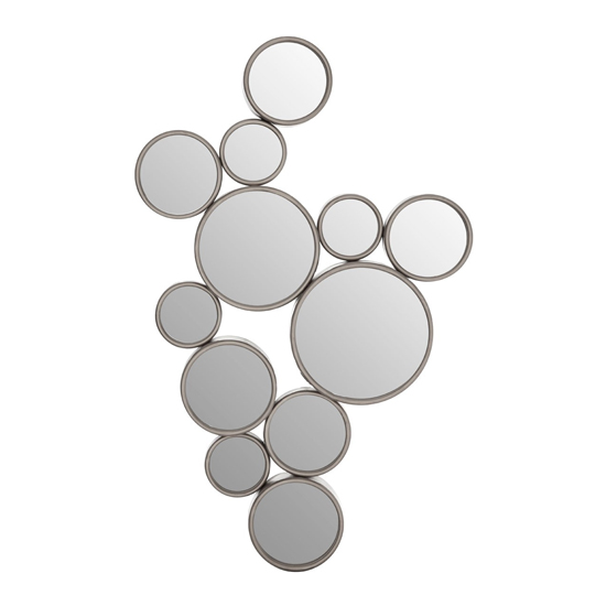 Persacone Large Multi-Circles Wall Mirror In Silver