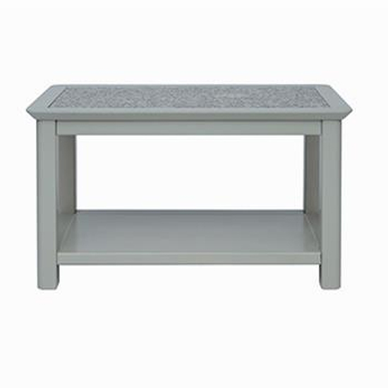 Perth Grey Stone Inset Open Coffee Table In Grey