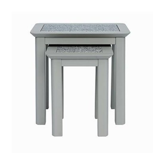 Perth Grey Stone Inset Set Of 2 Nesting Tables In Grey