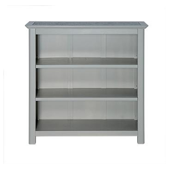 View Perth low bookcase in grey with adjustable shelves