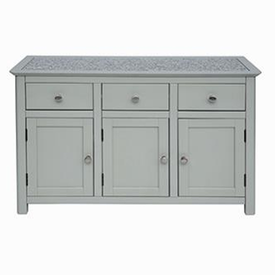 Perth Stone Inset Sideboard In Grey With 3 Doors And 3 Drawers