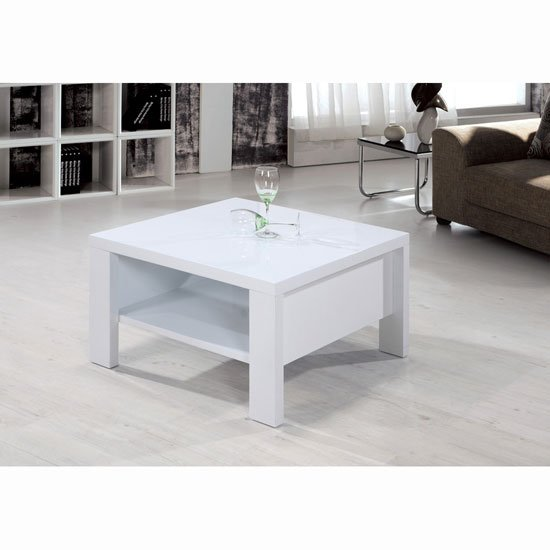 View Peru high gloss white square coffee table