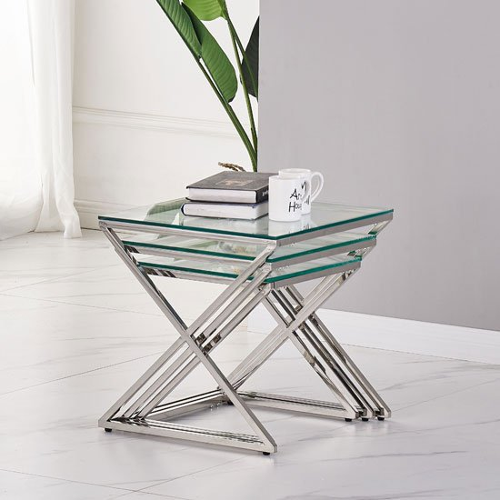 Pesaro Set Of 3 Glass Nesting Tables In Clear With Silver Base