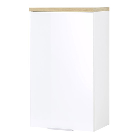 Pescara Wall Bathroom Storage Cabinet In White And Navarra Oak