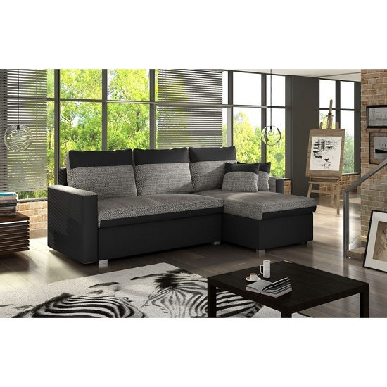 Pescara Corner Sofa Bed In Black Faux Leather And Grey Fabric