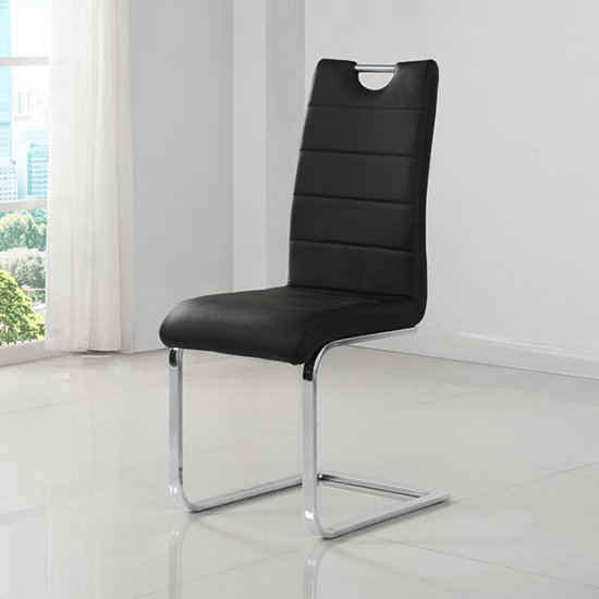 Petra Black Faux Leather Dining Chairs In Pair_2
