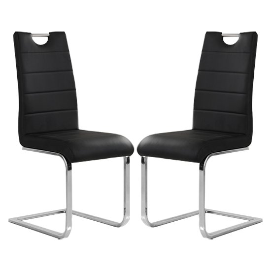 Petra Black Faux Leather Dining Chairs In Pair