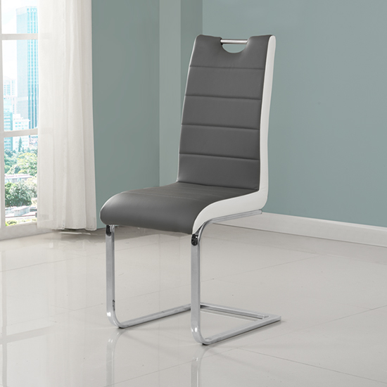 Petra Faux Leather Dining Chair In Grey And White