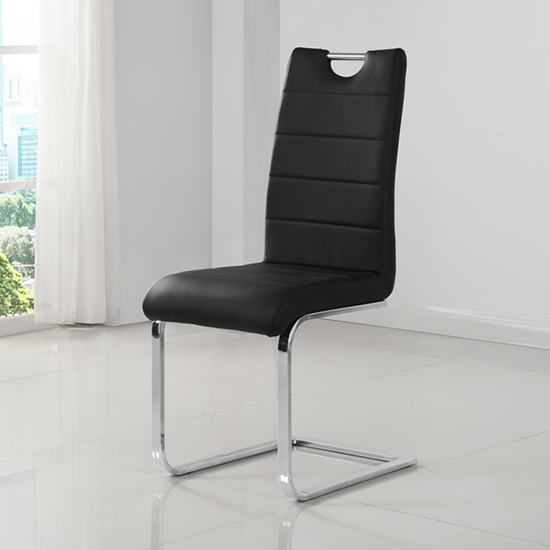 Petra Faux Leather Dining Chair In Black