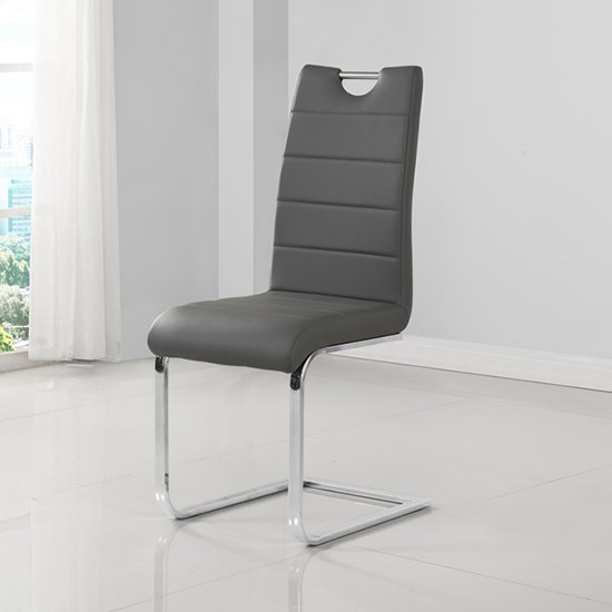 Petra Faux Leather Dining Chair In Grey