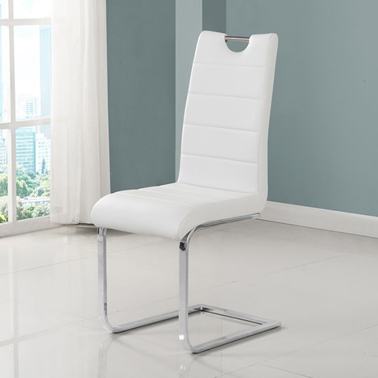 Petra Faux Leather Dining Chair In White