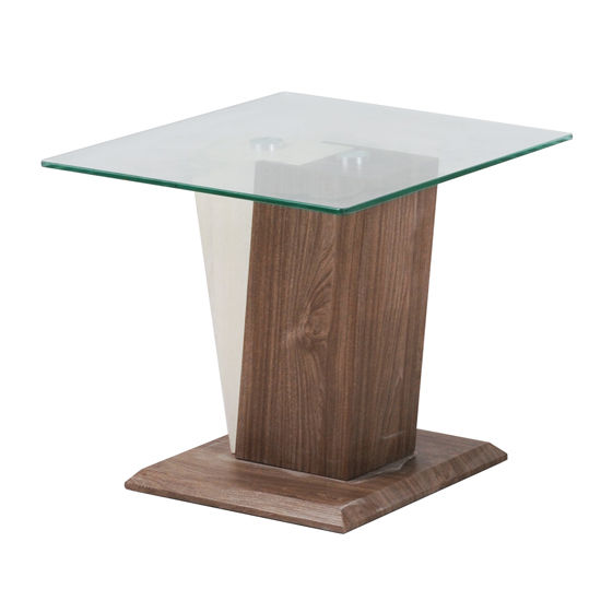 Vetros Glass End Table With Two Tone Wooden Base