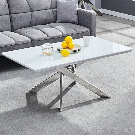 Petra Glass Top Coffee Table In White High Gloss And Chrome Legs
