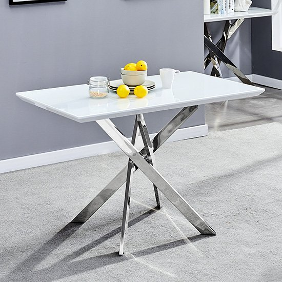 Petra Glass Top Dining Table In White High Gloss And Chrome Legs