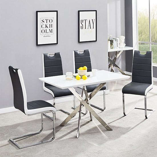 Petra Glass Top Dining Table In White Gloss 4 Black White Chairs