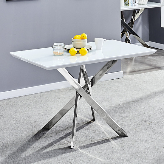 Petra Glass Top Dining Table In White Gloss 4 Grey White Chairs_2