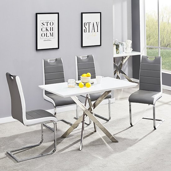 Petra Glass Top Dining Table In White Gloss 4 Grey White Chairs