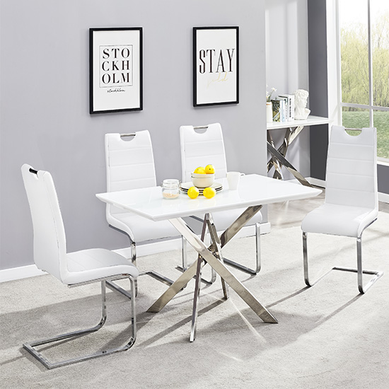 Petra Glass Top Dining Table In White Gloss With 4 White Chairs