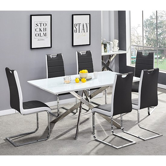 Petra Glass Top Dining Table In White Gloss 6 Black White Chairs
