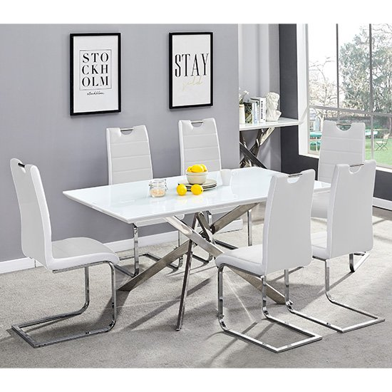 Petra Glass Top Dining Table In White Gloss With 6 White Chairs