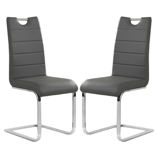 Petra Grey Faux Leather Dining Chairs In Pair