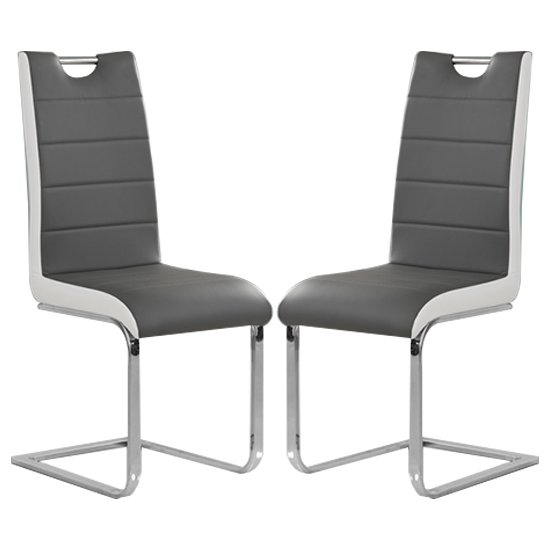 Petra Grey And White Faux Leather Dining Chairs In Pair