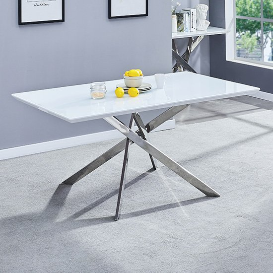 Petra Large White Gloss Glass Top Dining Table And Chrome Legs