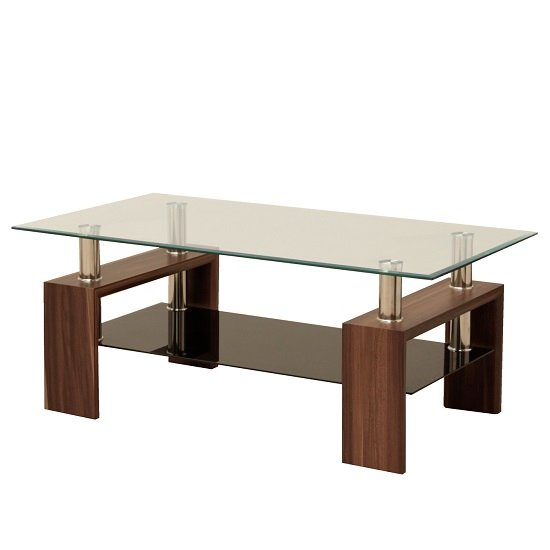 Tetro Glass Coffee Table Rectangular In Clear With Walnut Legs