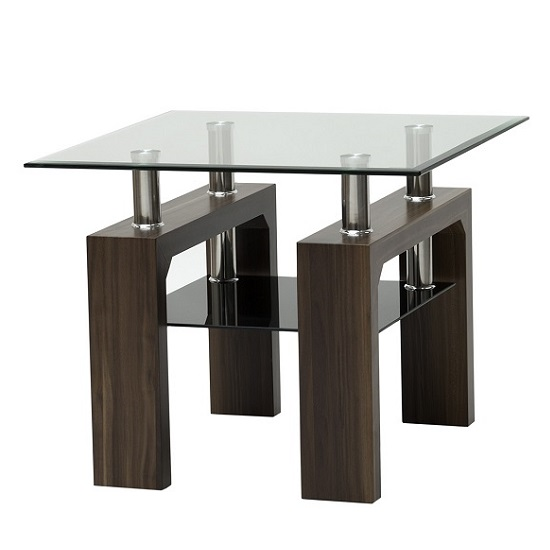 Petra Glass End Table Square In Clear With Walnut Legs