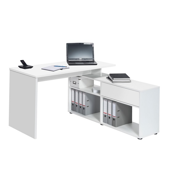 Petra Wooden Corner Computer Desk In Icy White