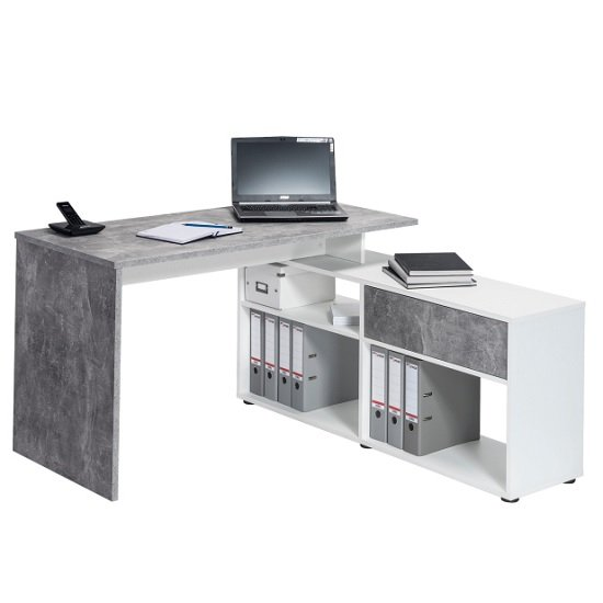 Petra Wooden Corner Computer Desk In Icy White And Concrete