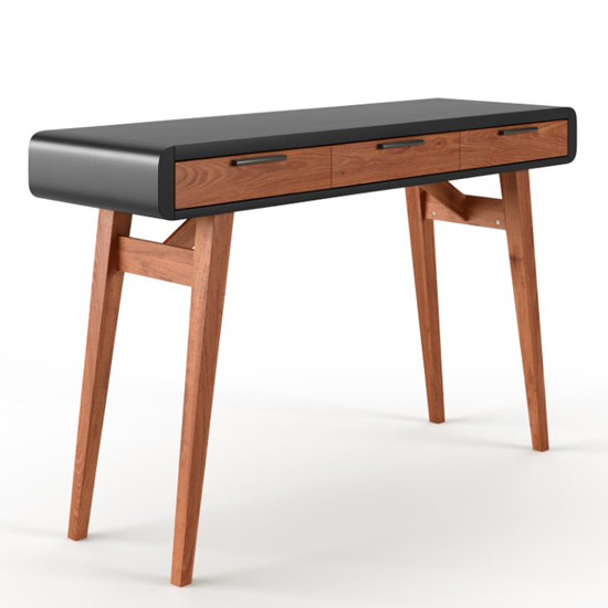 View Pevensey wooden computer desk in gloss black and oak