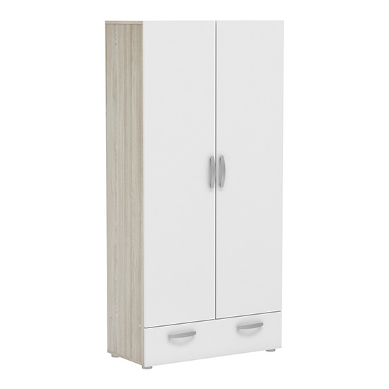 Phad 2 Doors 1 Drawer Wardrobe In Shannon Oak And Pearl White