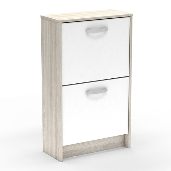Phad Wooden Shoe Storage Cabinet In Shannon Oak And Pearl White