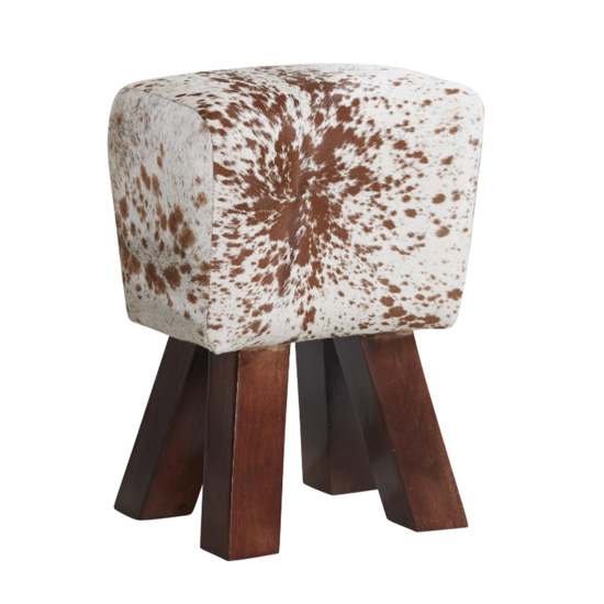Phaet Faux Leather Cowhide Stool In Natural_1