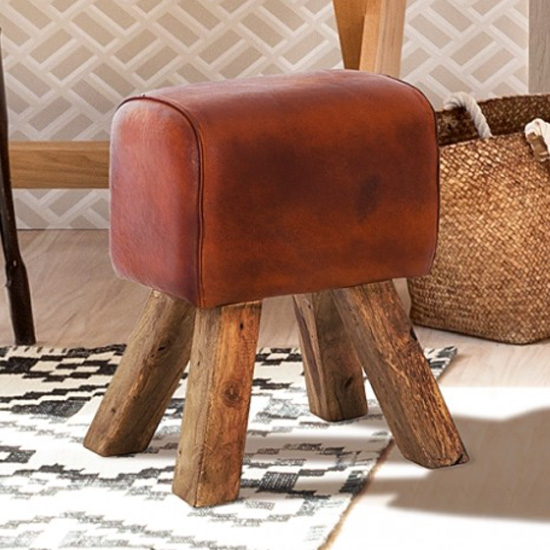 Phaet Faux Leather Turned Buck Stool In Brown