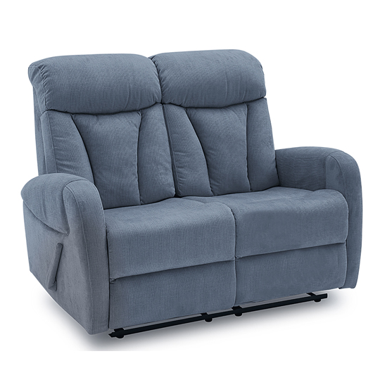 Phoebe Fabric Upholstered Recliner 2 Seater Sofa In Blue