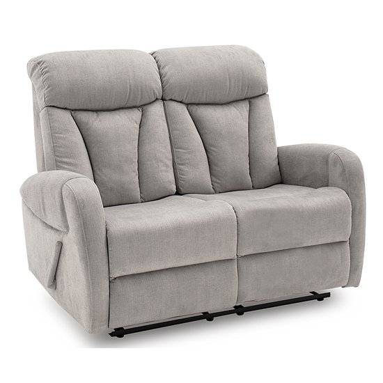 Phoebe Fabric Upholstered Recliner 2 Seater Sofa In Grey_1
