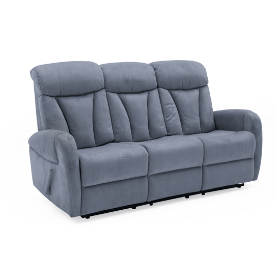 Phoebe Fabric Upholstered Recliner 3 Seater Sofa In Blue