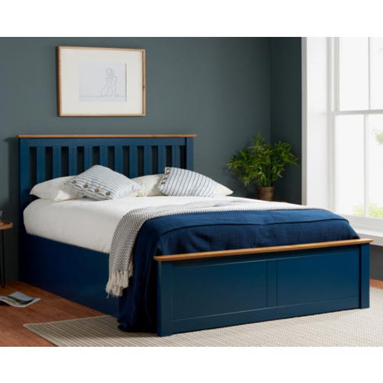 Phoenix Ottoman Wooden Double Bed In Navy Blue