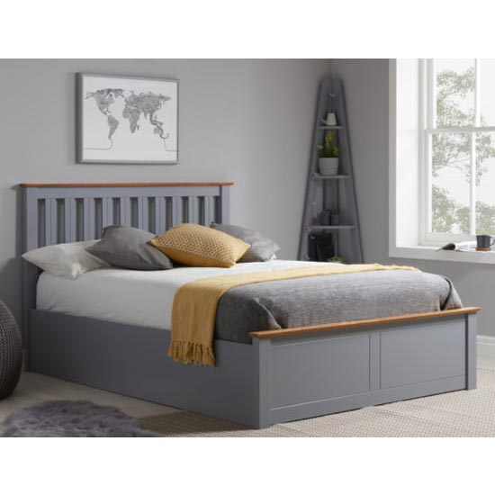 Phoenix Ottoman Wooden Double Bed In Stone Grey