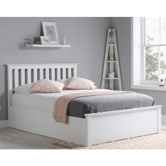 Phoenix Ottoman Wooden Double Bed In White