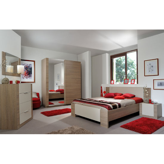 Azura Gloss Finish King Size Bed In Oak With Integrated Lighting