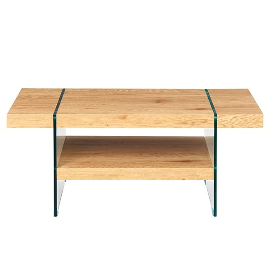 Picasso Wooden Coffee Table In Wild Oak With Glass Legs