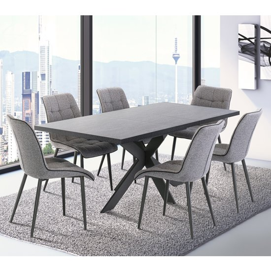 Picasso Extending Dark Grey Dining Table With 6 Grey Chairs