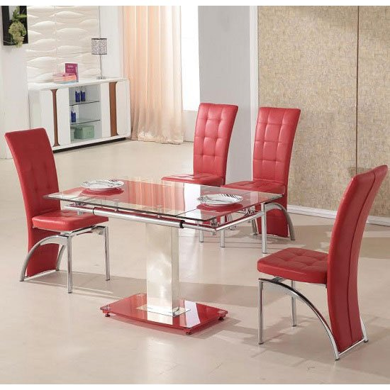 Picasso 4 Seater Extending Glass Dining Set In Red And Clear