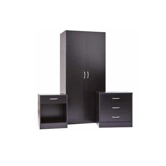 Piccalo Wooden Bedroom Furniture Set In Black Finish