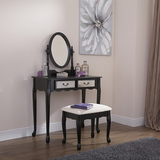 Pickwick Contemporary Mirrored Dressing Table Set In Black