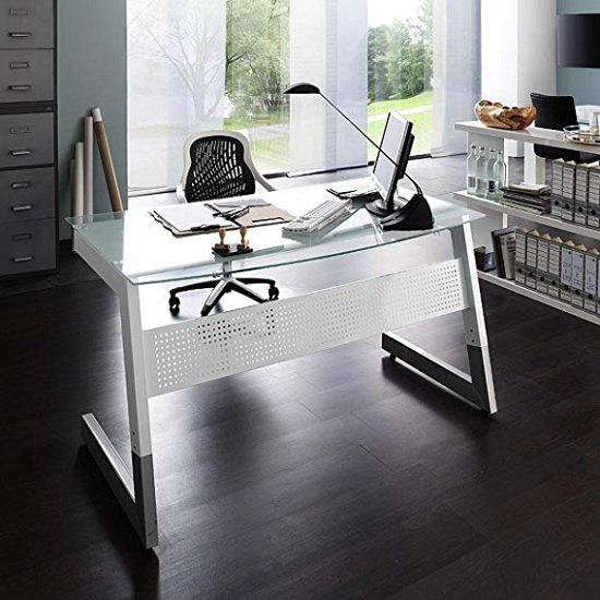 Pico Glass Computer Desk In White And Clear With Metal Legs