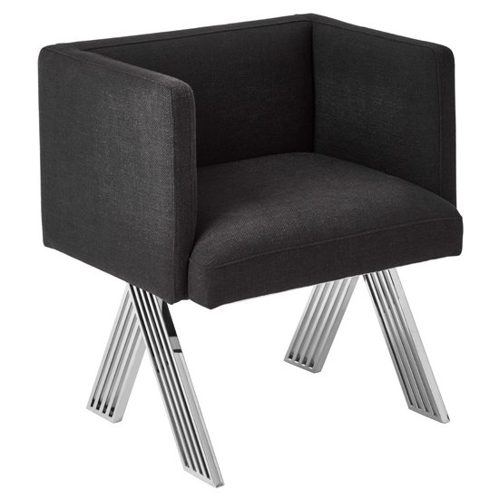 Markeb Black Fabric Dining Chair With Silver Metal Legs